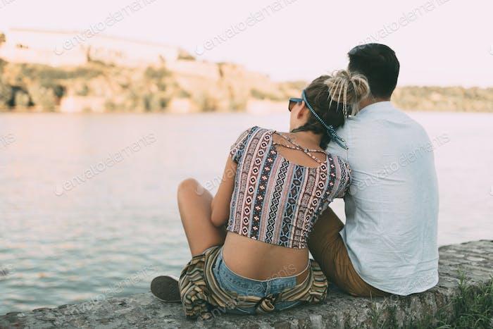 Couple enjoying serene moments
