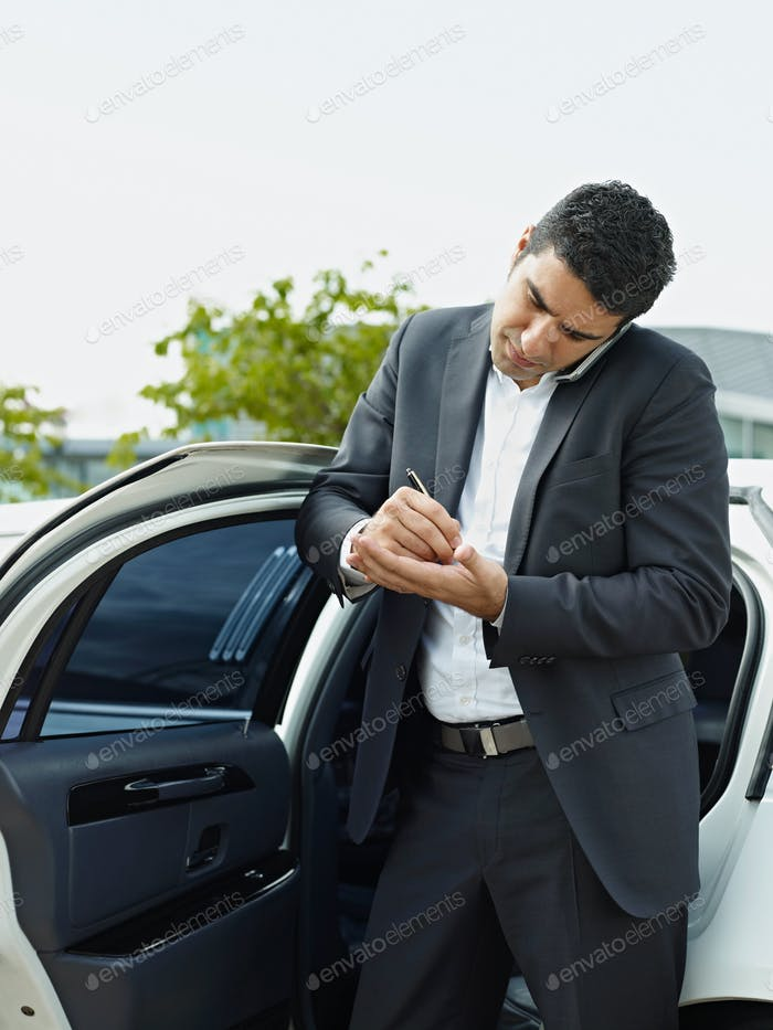 Business Man Working In Car