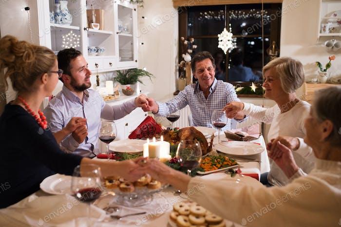 Hermosa gran familia celebrando felpudo juntos