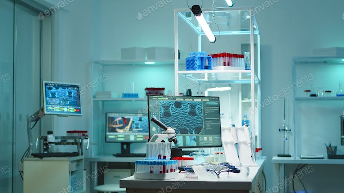 Interior of modern science laboratory with no people at night