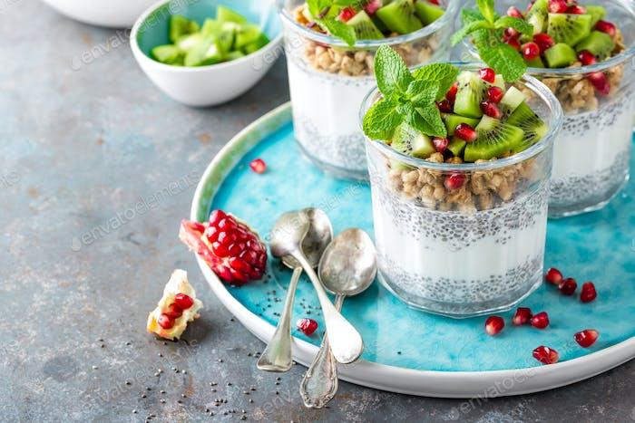 Chia Pudding Parfait mit Kiwis, Granatapfel, Müsli und Joghurt, gesundes Frühstück