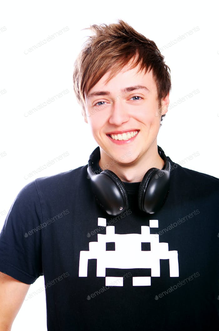 Young and attractive guy with headphones