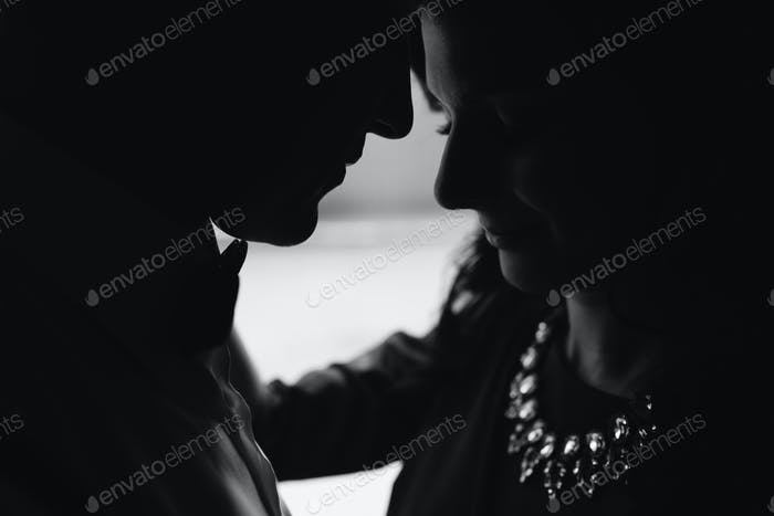 Young beautiful couple silhouette
