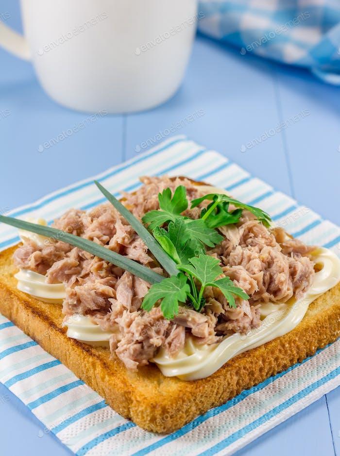 Breakfast sandwich with tuna fish and verdure