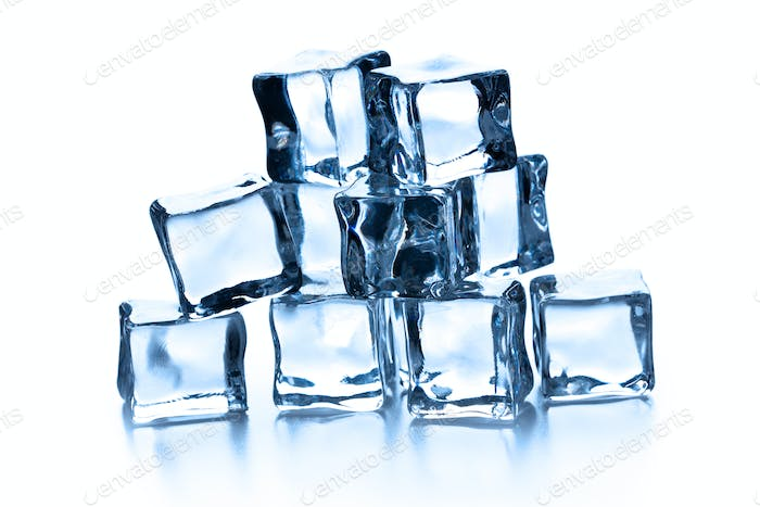 pile of many ice cubes