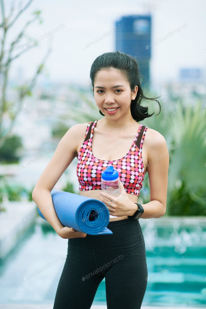 Woman is going to exercise