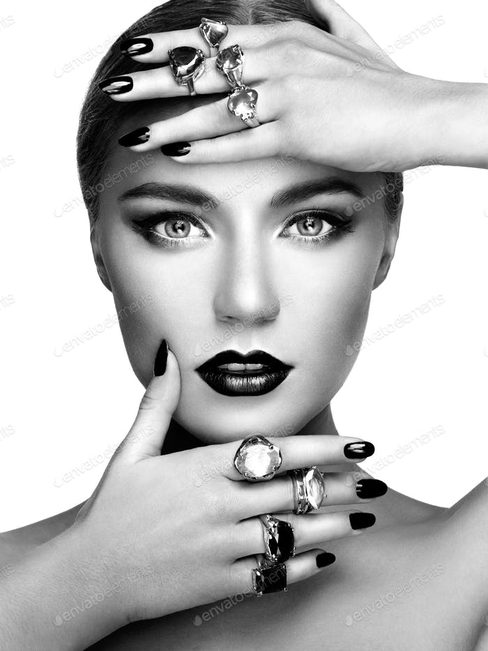 Portrait of beautiful woman with jewelry
