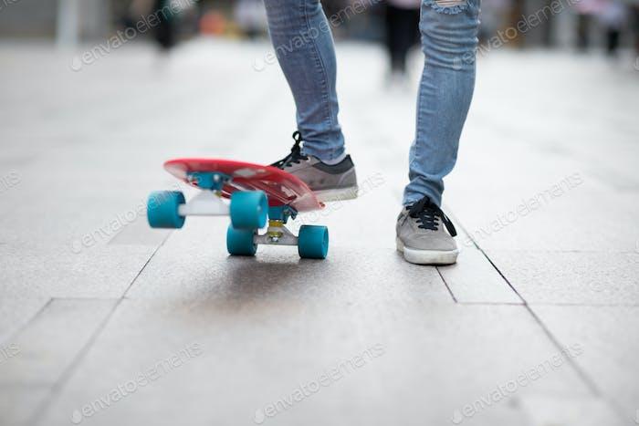 skateboarding at city street