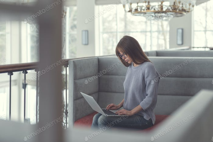 Attractive women with laptop