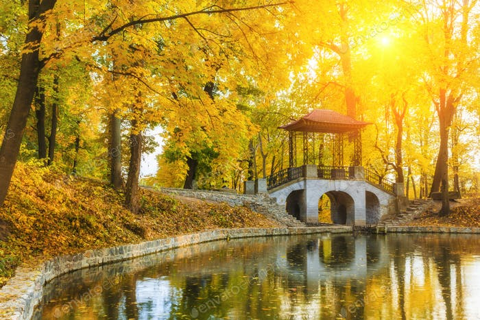Beautiful autumn landscape with river, bridge and yellow trees.