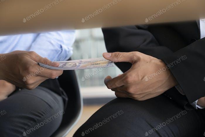 Conceptos de soborno y corrupción.
