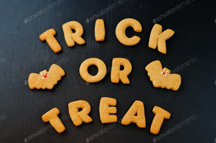 Trick or treat words cookies wiht halloween cookies