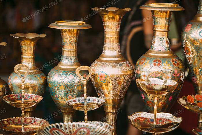 Goa, India. Indian Eastern Jugs On Local Goa Market. Popular Souvenirs From India. Market Of