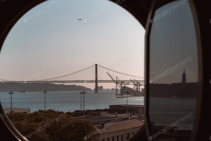 Lisbon landscape through the window