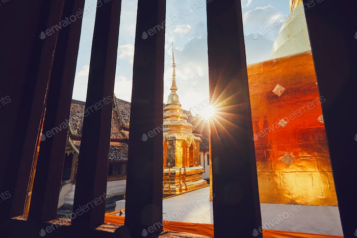 Buddhist temple at the sunset