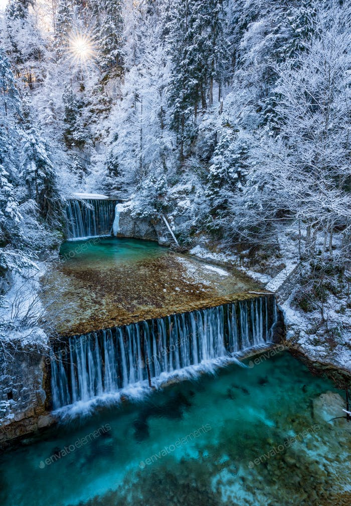 Beautiful Waterfall in winter, Slovenia, Europe