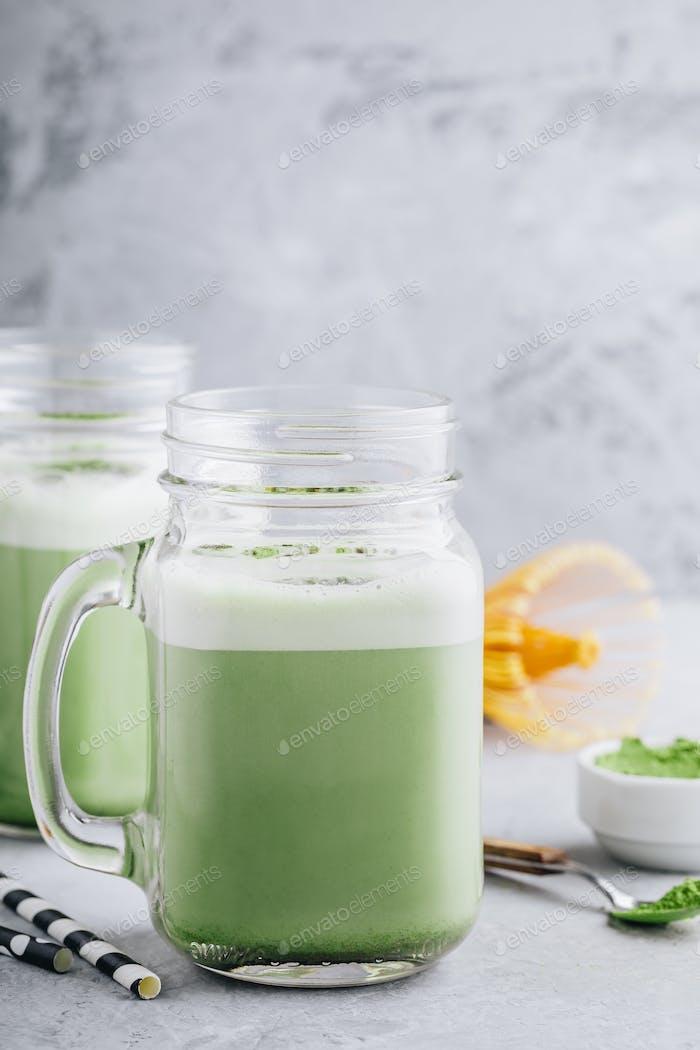 Green Tea Matcha Frappuccino in mason jar
