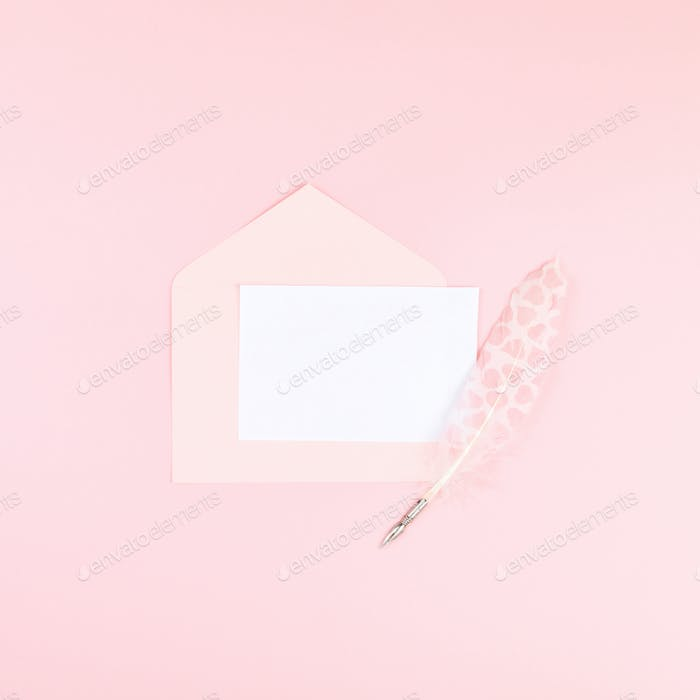 Letter in an envelope with love.Traditional holiday gift.