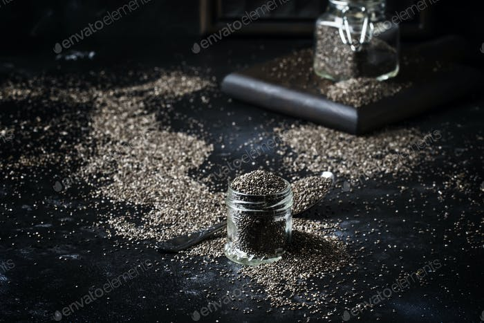 Chia seeds in glass jar