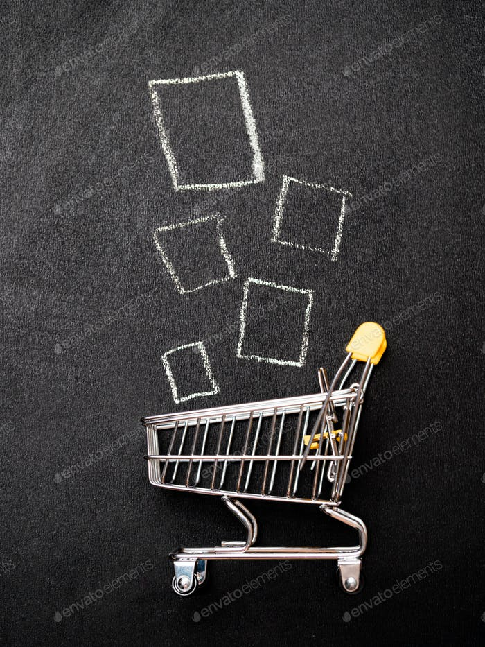 Shopping cart and products, vertical