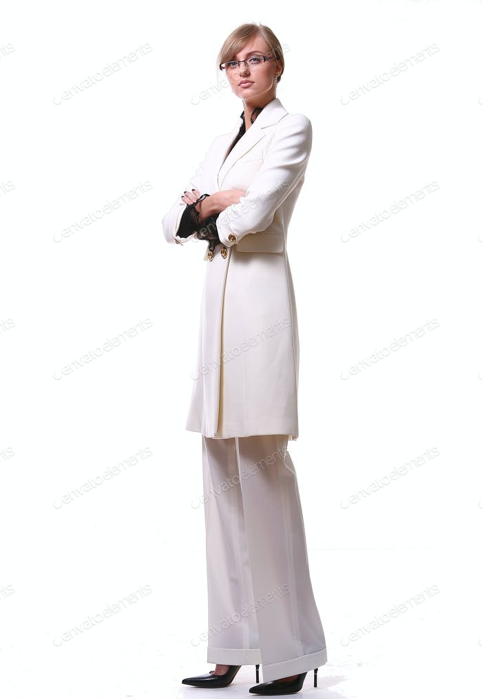 white beautiful blond business woman