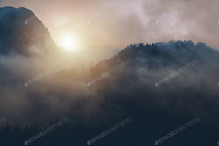Misty Foggy Sunrise Alpine Scenery