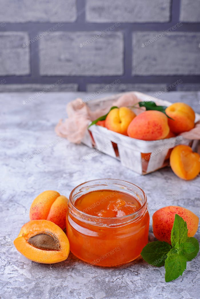 Apricot jam in glass jar
