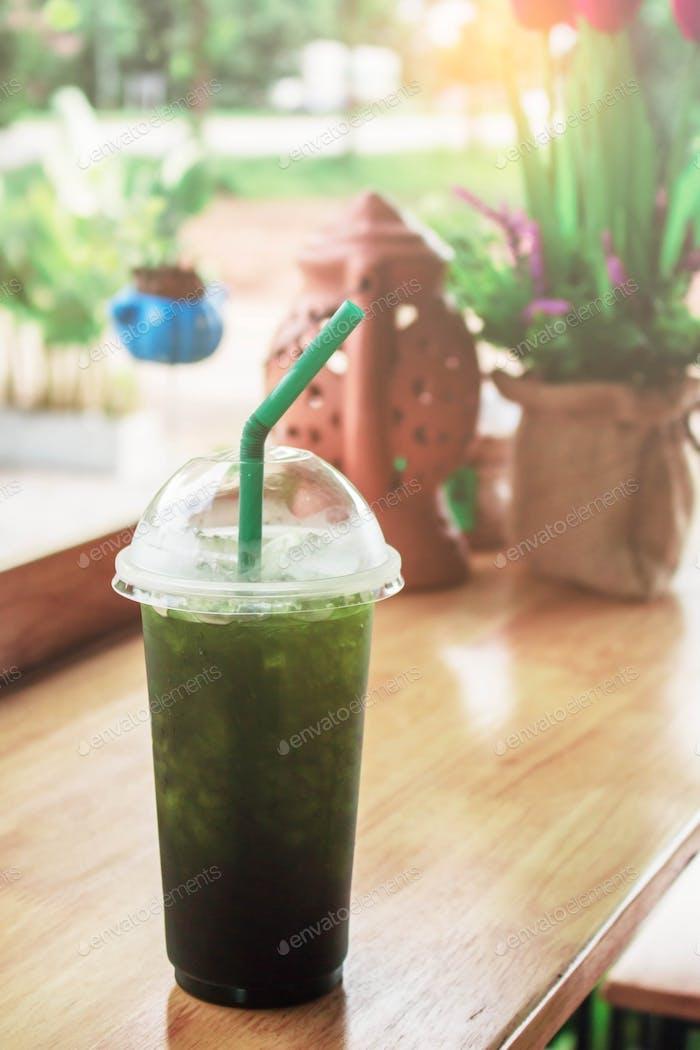 Green tea on table