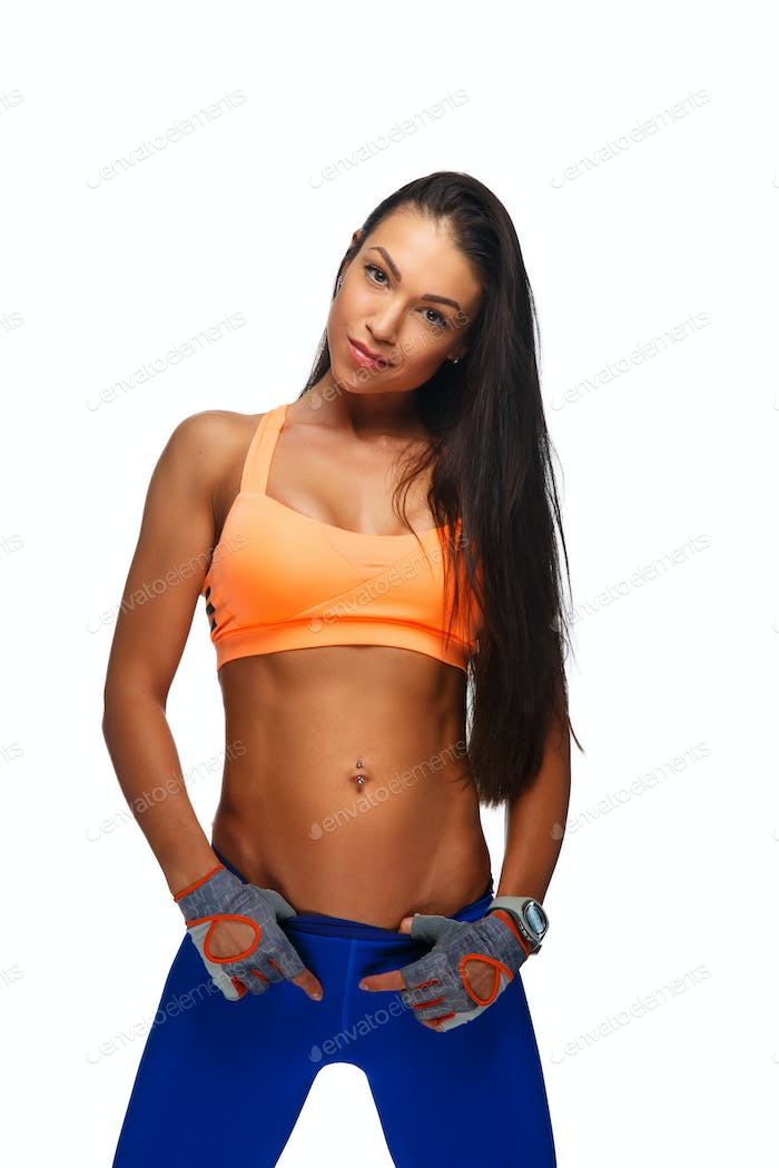 Fitness woman in a blue pants.