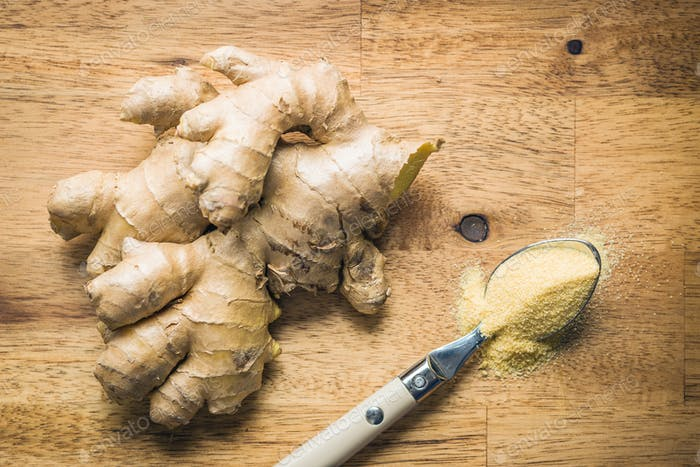 Dried and fresh ginger root.