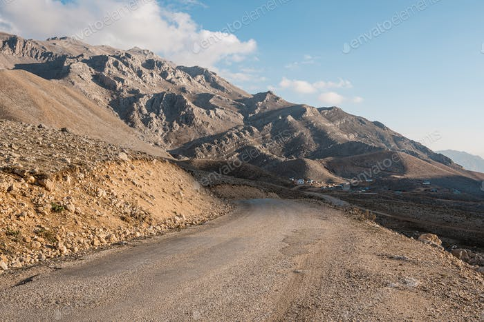 Road raising in to the mountains
