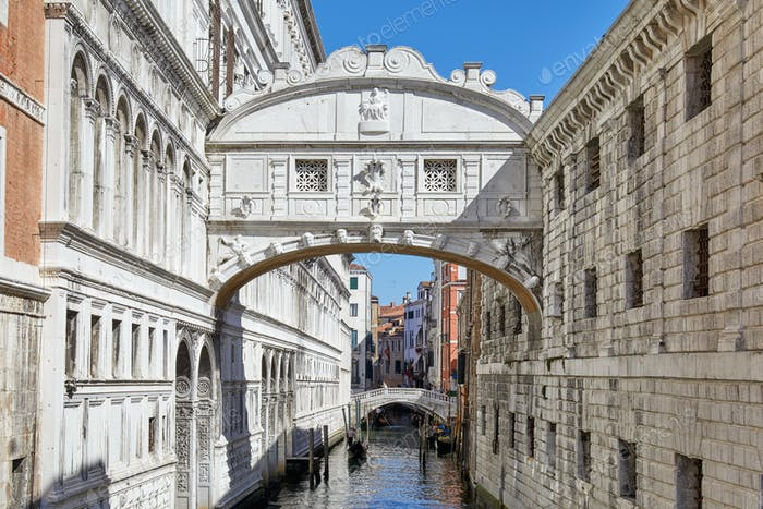 Bridge of Sighs in a sunny day, architecture in Venice, Italy