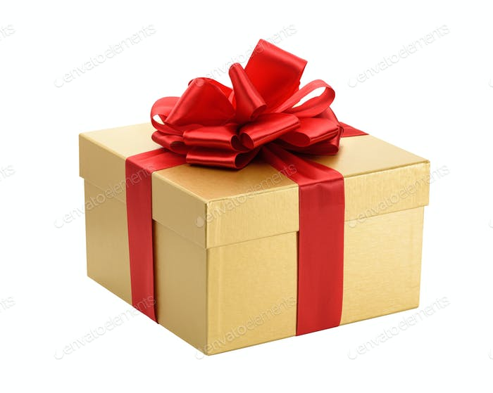 Golden gift box isolated on a white background