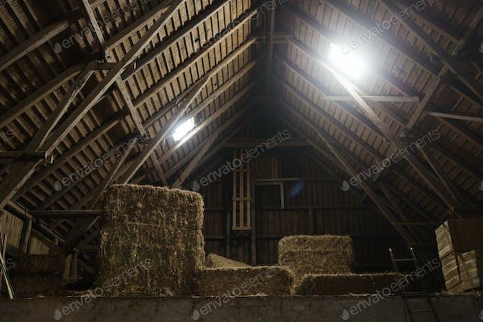 Haystack in barn
