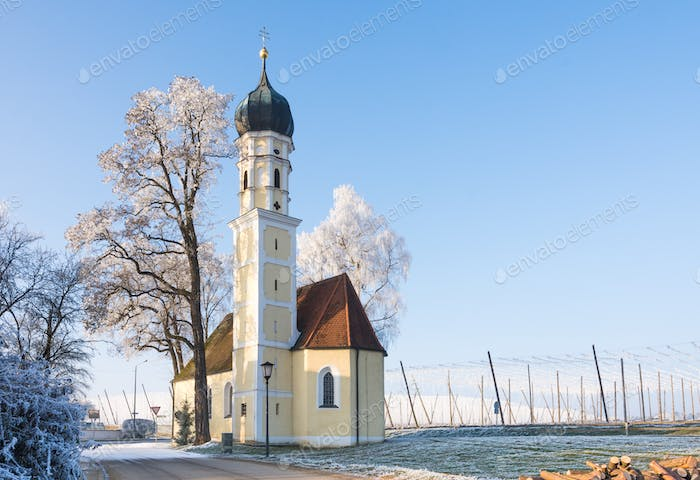 Church of Strobenried on a sunny winter day