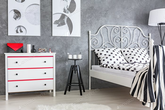 Grey, red and white bedroom