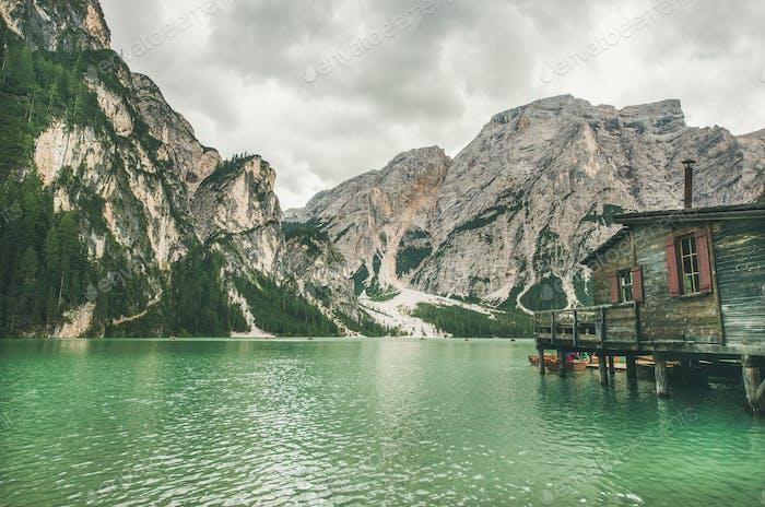 Lago di Braies in Fanes-Sennes-Braies Nature Park, Italy