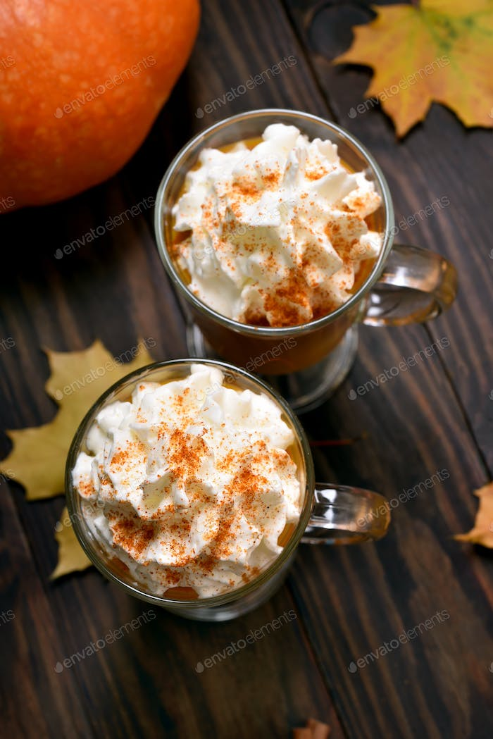 Pumpkin spicy latte in glasses