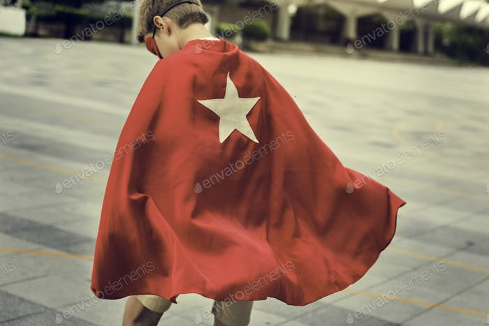 Superhero Boy Kid Custome Energiekonzept