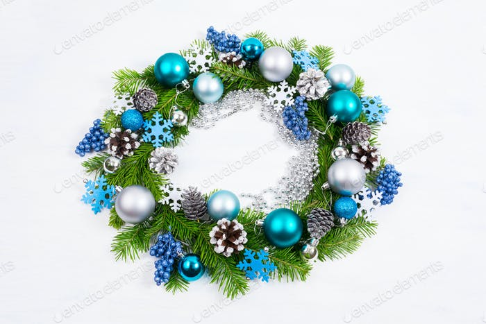 Christmas silver, blue, turquoise balls and pine cones wreath