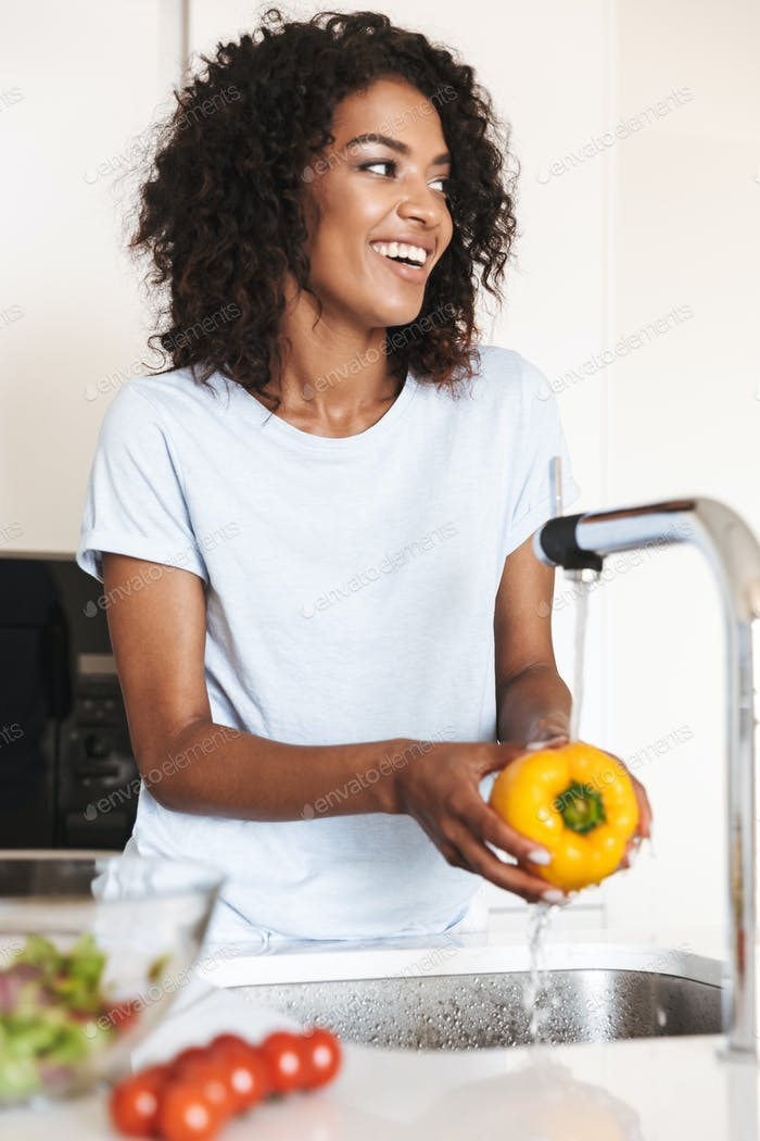 Portrait of a cheerful afro american woman