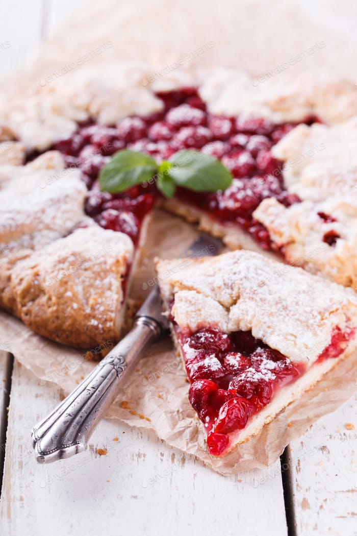 Homemade galette with cherries Sweet pastries