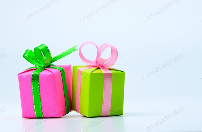 Pink and green gift boxes