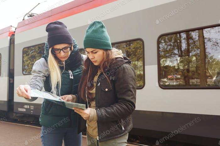 Women traveling by train