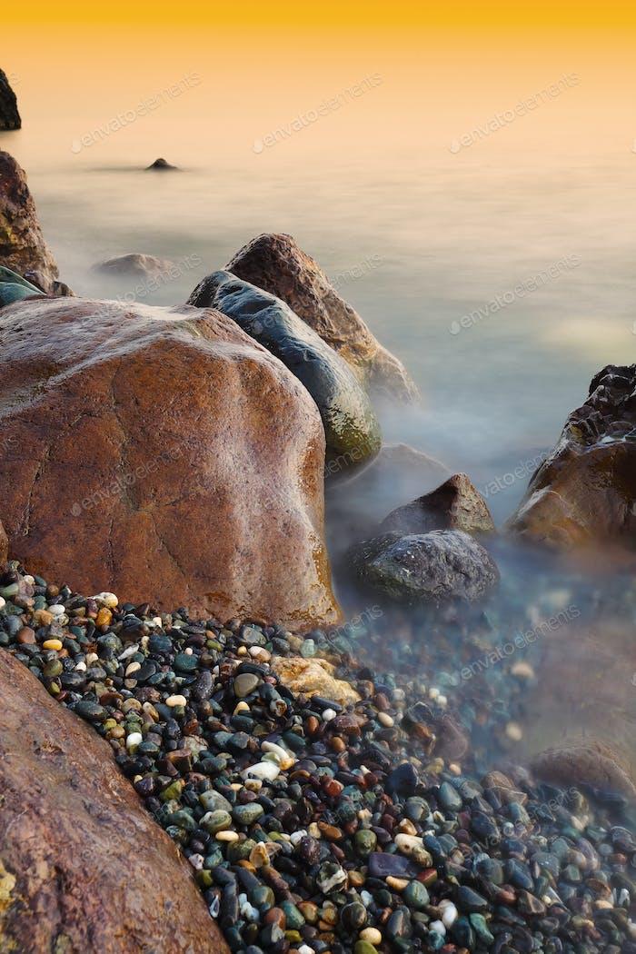 Beautiful natural seascape at long exposure.
