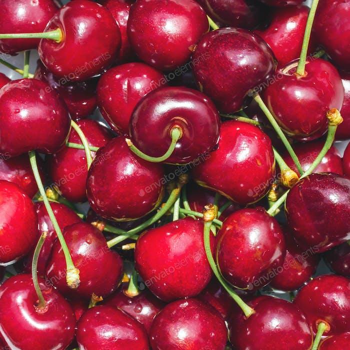 Ripe cherries background