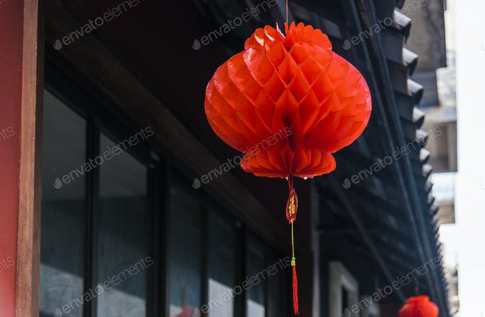 Closeup of red honeycomb paper lantern