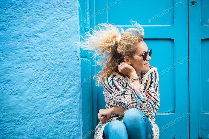Coloured and trendy lifestyle fashion portrait of beautiful woman