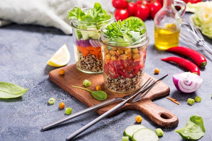 Quinoa Salad in Mason Jars, Vegan Snack