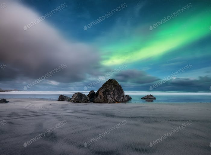 Northern light on the Lofoten islands, Norway. Long exposure photography